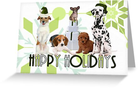 Holiday Dogs in Green Hues by Doreen Erhardt