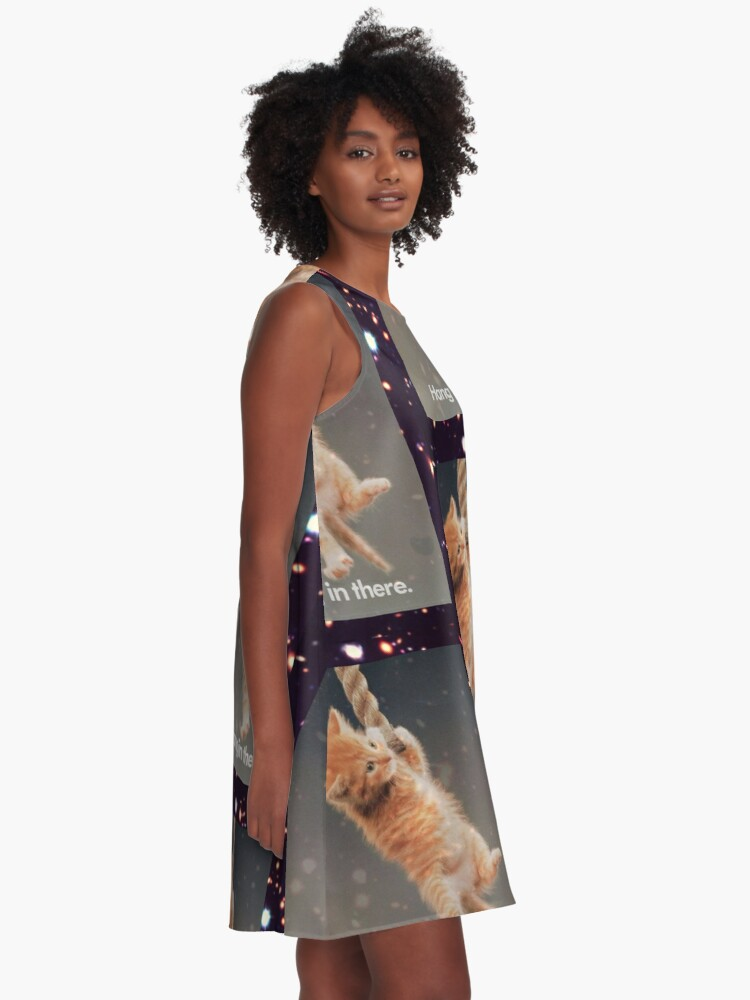 Alternative Ansicht von Hang In There, Space Kitty A-Linien Kleid