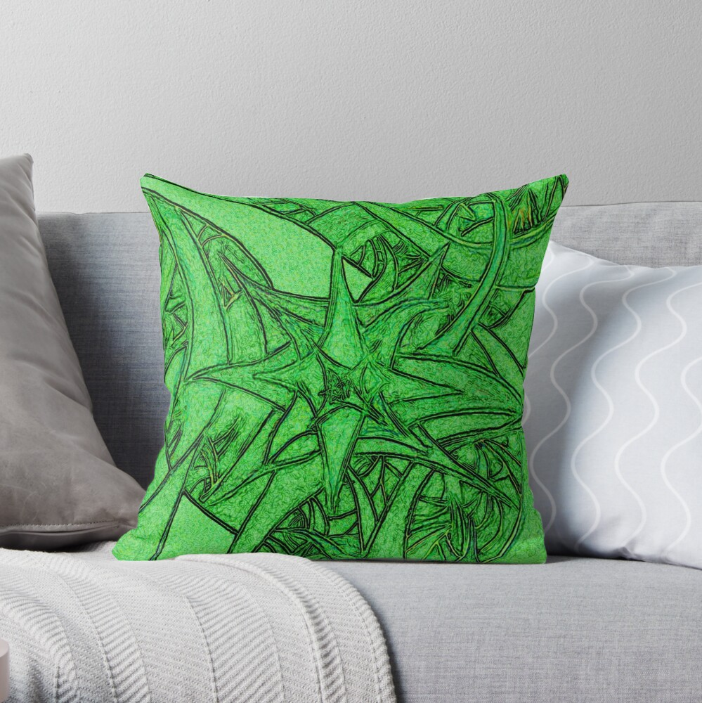 Unknown Internal Vision [Abstract #53] GREEN Throw Pillow