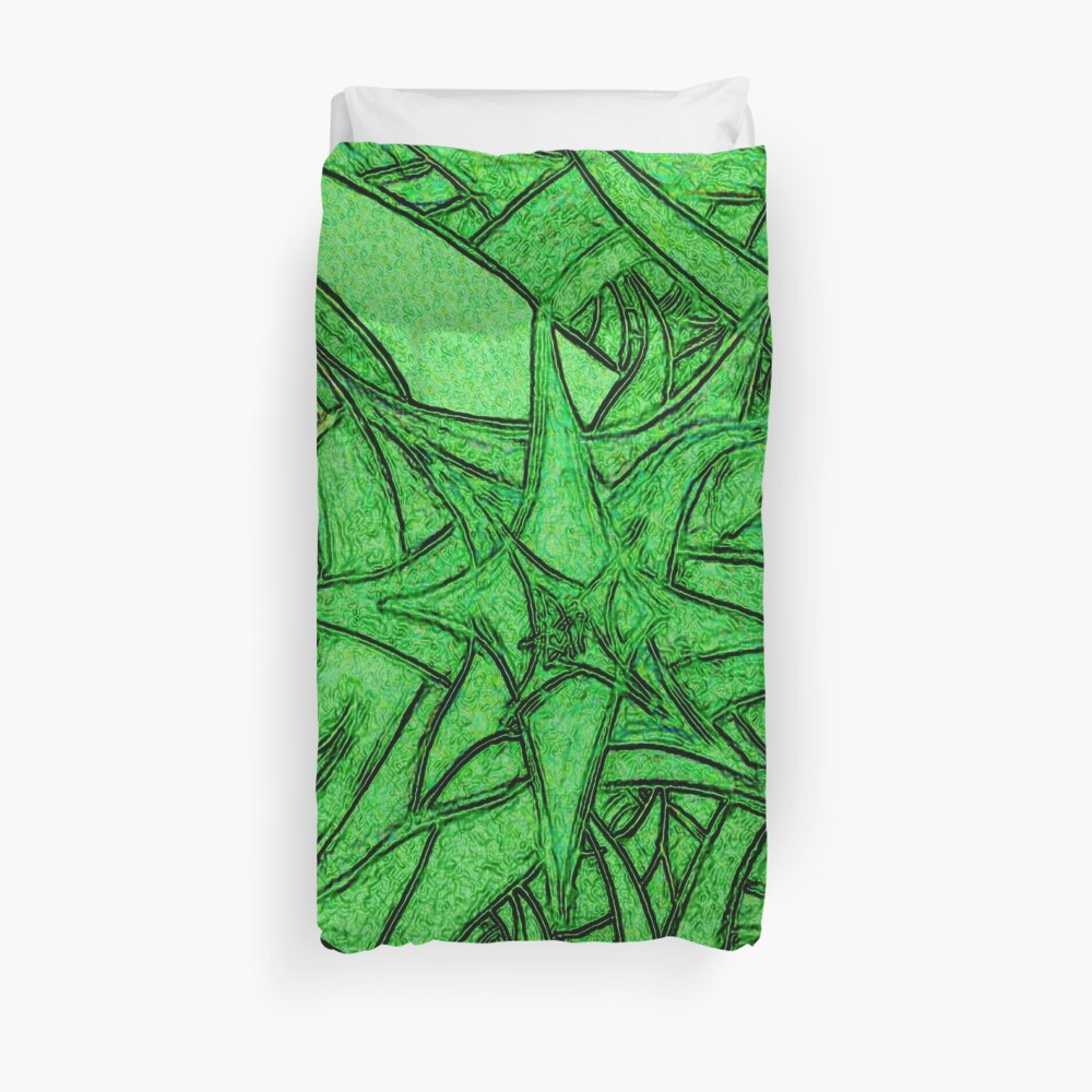 Unknown Internal Vision [Abstract #53] GREEN Duvet Cover