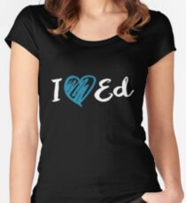 I Heart Ed Design (Black/Inverted) Women's Fitted Scoop T-Shirt