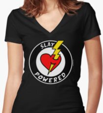 "State Of Slay ""Slay Powered"" - To Benefit Battered Women Support Services (Black) Women's Fitted V-Neck T-Shirt"
