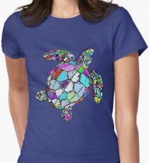 Psychedelic Sea Turtle Womens Fitted T-Shirt