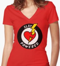 """State Of Slay """"Slay Powered"""" - To Benefit Battered Women Support Services (Red) Women's Fitted V-Neck T-Shirt"""