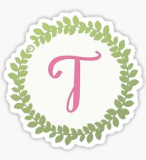 Initial Wreath Monogram T Sticker