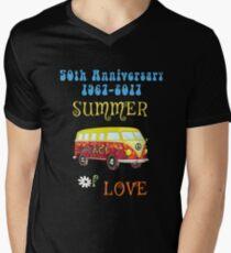 50th Anniversary Summer of Love Hippie Peace Van Men's V-Neck T-Shirt