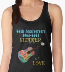 50th Anniversary Summer of Love Peacock Guitar Hippie Design Women's Tank Top