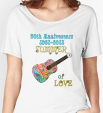 50th Anniversary Summer of Love Peacock Guitar Hippie Design Women's Relaxed Fit T-Shirt