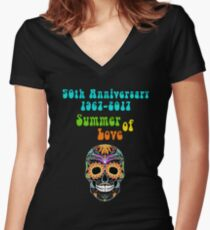 50th Anniversary Summer of Love Colorful Hippie Skull Women's Fitted V-Neck T-Shirt