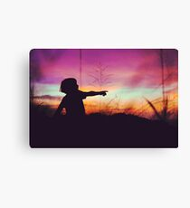 Playful kid at sunset Canvas Print