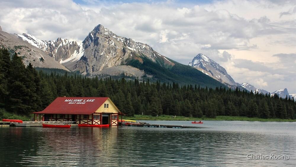 Maligne Lake Boathouse by Charles Kosina