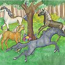 Four Dancing Horses by Stephanie Small