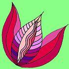 Purple Tulip Pattern on May Green Ground by CarolineLembke