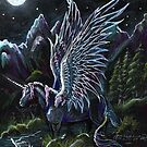 Winged Unicorn in Moonlight by Stephanie Small