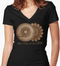 USA Solar Eclipse August 21 2017 Wood Grain Laser Etched Design Women's Fitted V-Neck T-Shirt