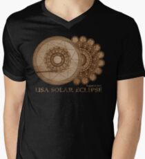 USA Solar Eclipse August 21 2017 Wood Grain Laser Etched Design T-Shirt