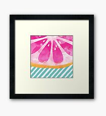 Pink Grapefruit Abstract Framed Print