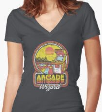 Arcade Wizard Women's Fitted V-Neck T-Shirt
