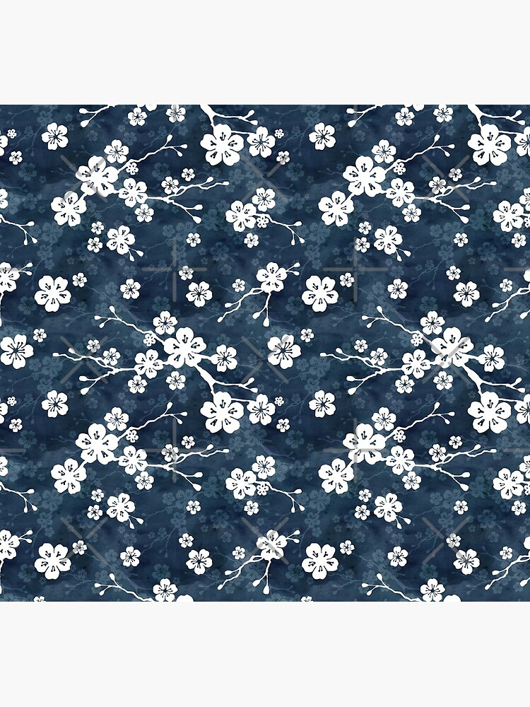 Navy and white cherry blossom pattern by adenaJ
