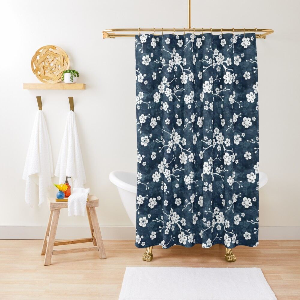 Navy and white cherry blossom pattern Shower Curtain