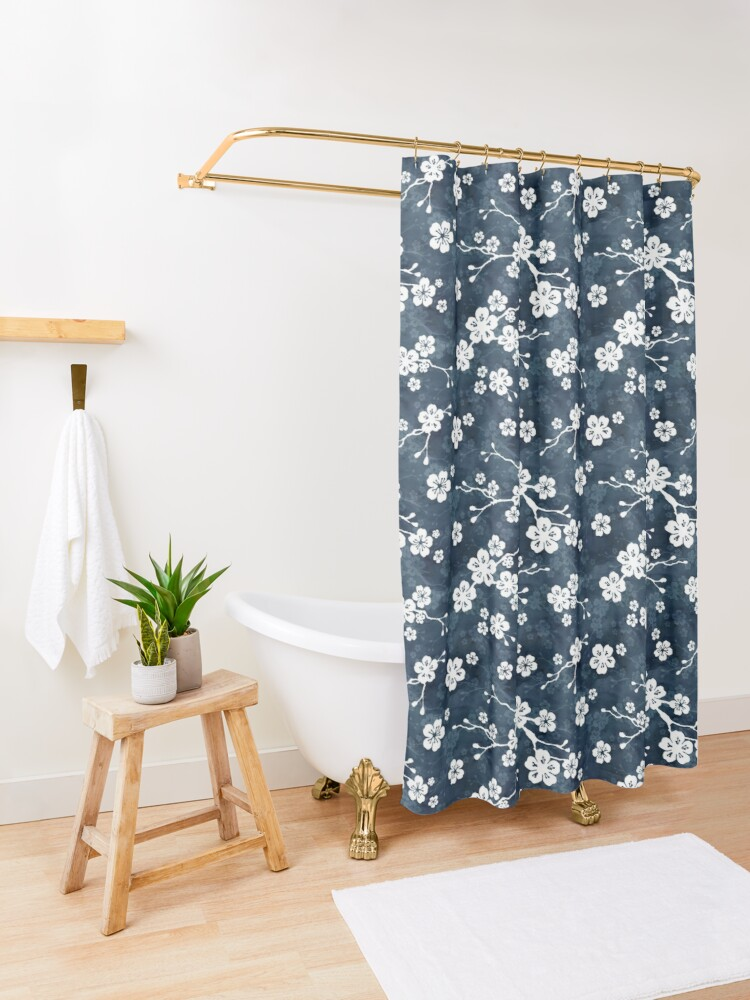 Alternate view of Navy and white cherry blossom pattern Shower Curtain