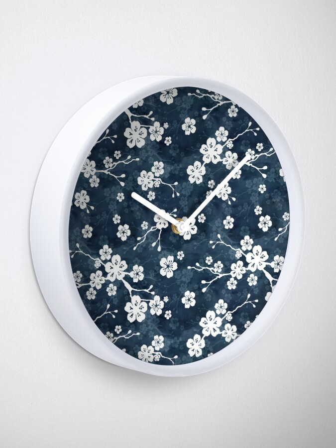 Alternate view of Navy and white cherry blossom pattern Clock