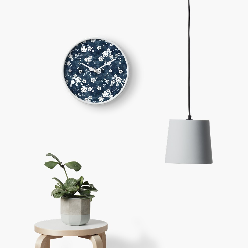 Navy and white cherry blossom pattern Clock