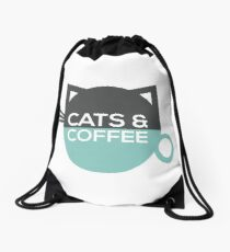 Cats and Coffee Drawstring Bag