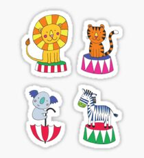 Circus Animal Alphabet - multicoloured on sky blue - Cute animal pattern by Cecca Designs Sticker