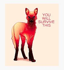 """""""You Will Survive This"""" Fire Galaxy Maned Wolf Photographic Print"""