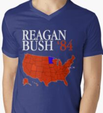 Reagan Bush '84 Retro Logo Red White Blue Election Map Ronald George 1984 84 Red States Electoral College T-Shirt