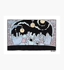 Nighttime City Strollers Photographic Print
