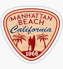 Surfing MANHATTAN BEACH California Surf Surfer Surfboard Waves Ocean Beach Vacation 2 Sticker