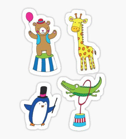 Circus Animal Alphabet - multicoloured on cream - Cute animal pattern by Cecca Designs Sticker