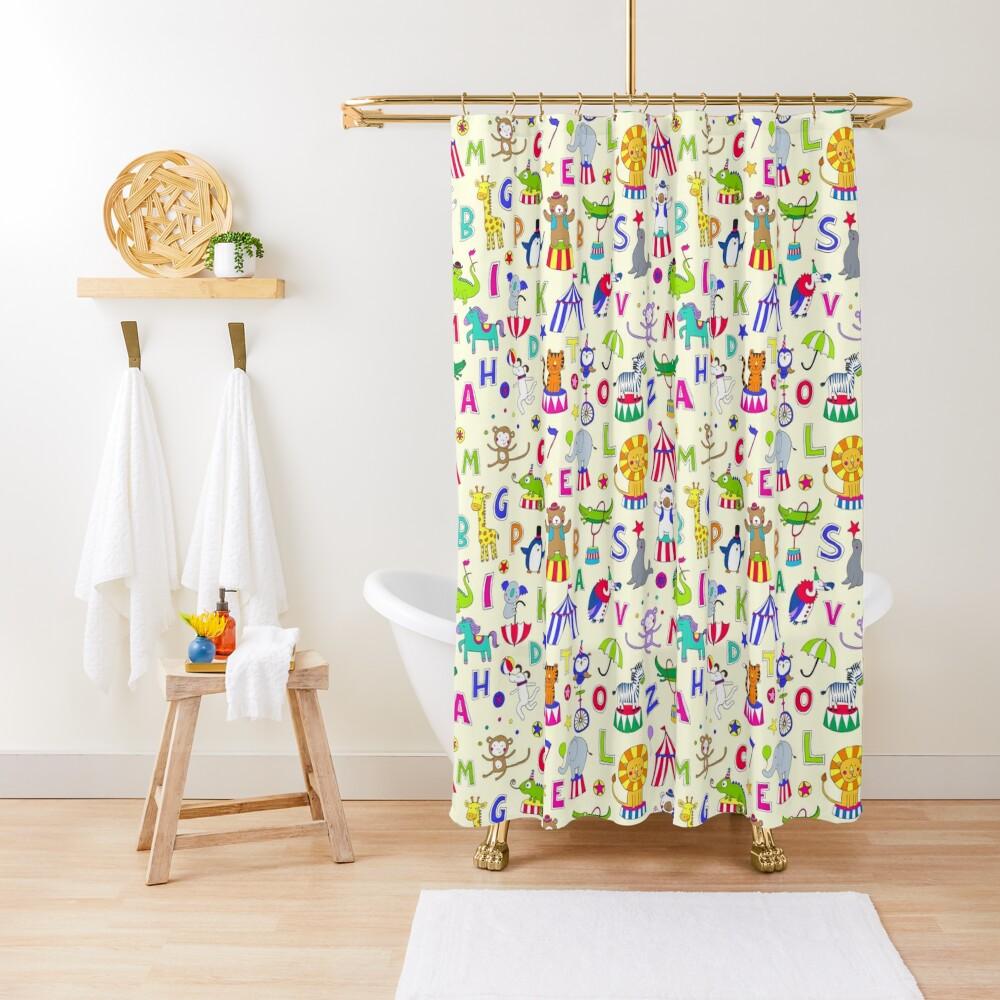 Circus Animal Alphabet - multicoloured on cream - Cute animal pattern by Cecca Designs Shower Curtain