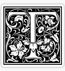 Medieval Letter T William Morris Letter Font Sticker