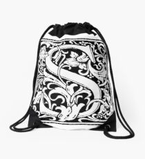 Medieval Letter S William Morris Letter Font Drawstring Bag