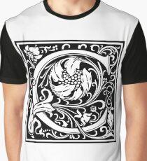 Medieval Letter C William Morris Letter Font Graphic T-Shirt