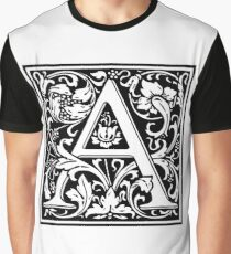 Medieval Letter A William Morris Letter Font Graphic T-Shirt