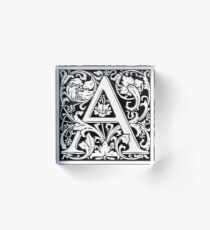 Medieval Letter A William Morris Letter Font Acrylic Block