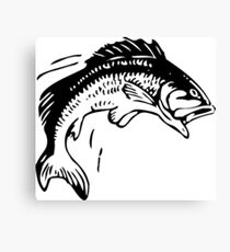 Bass Fishing Vintage Drawing Canvas Print