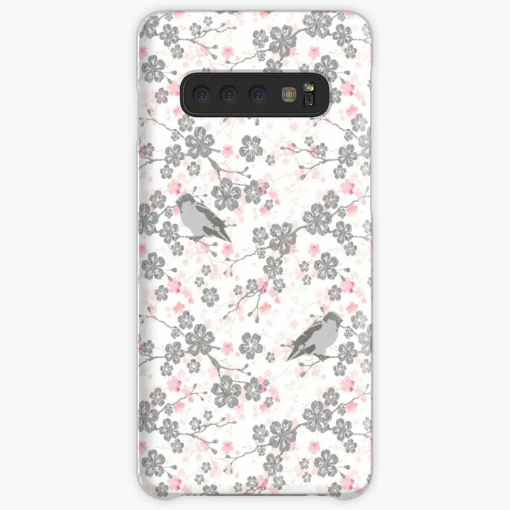Silver and pink cherry blossom birds Case & Skin for Samsung Galaxy