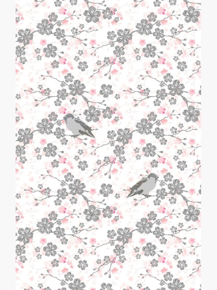 Silver and pink cherry blossom birds by adenaJ