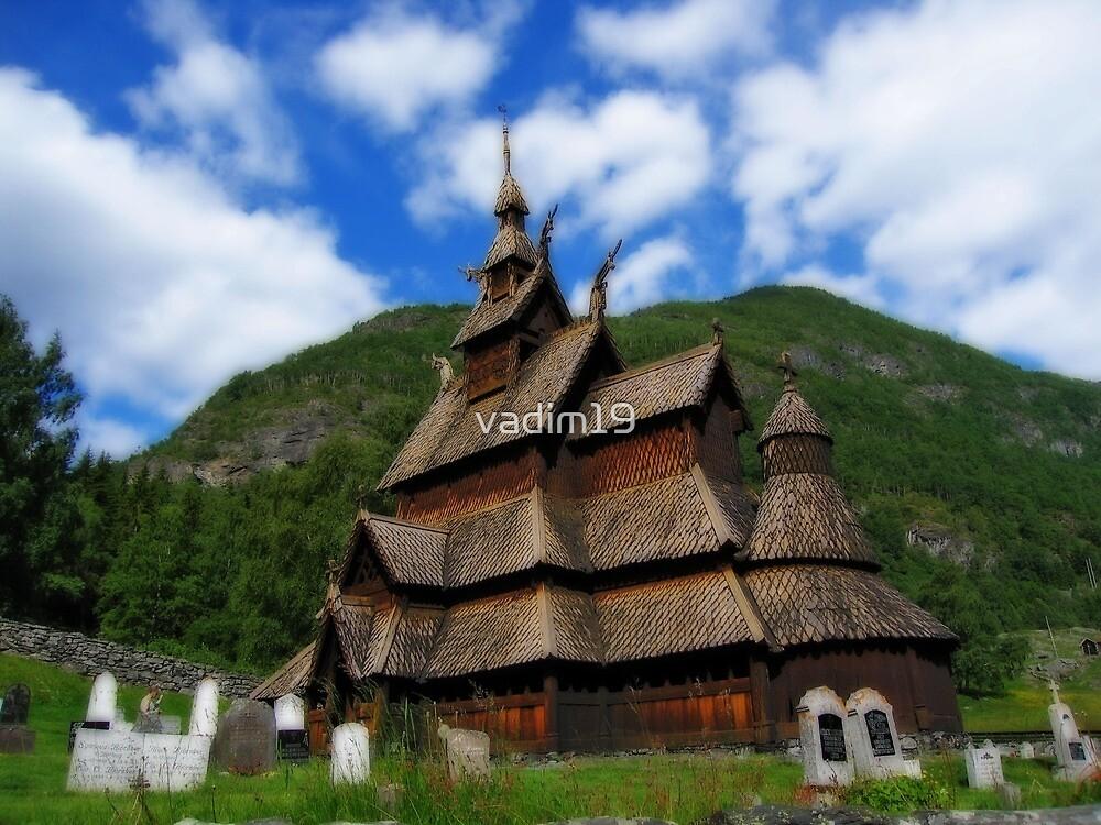 Borgund stave church, Norway by vadim19