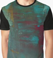 Abstract Washed Painting in Turquoise, Red and Orange Graphic T-Shirt