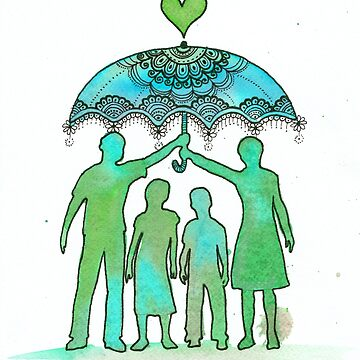 Family portrait painting, Silhouette painting  by DhanaART