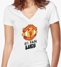 Manchester United #1 Fan - LUCY (Customize your own name!) Women's Fitted V-Neck T-Shirt