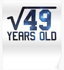 Square Root 49 7th Birthday T Shirt Funny Kid's Math Gift Poster