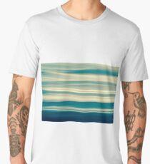 Blue tones on coastal abstract wavy clouds over horizon Men's Premium T-Shirt