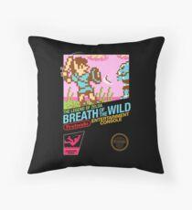 Zelda: Breath of the Wild — 80s Style NES Black Box Throw Pillow